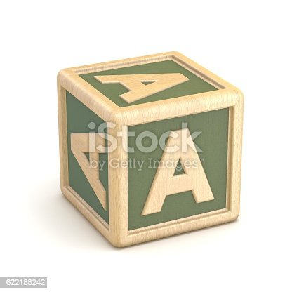 istock Letter A wooden alphabet blocks font rotated. 3D 622188242