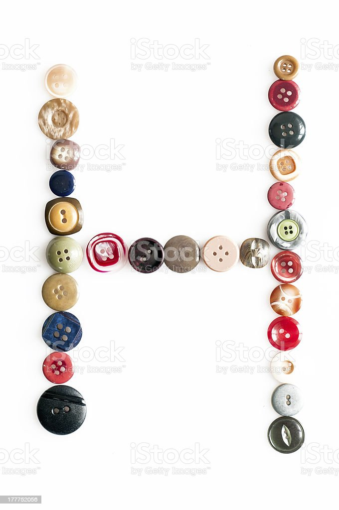 Letter alphabet formed of buttons royalty-free stock photo
