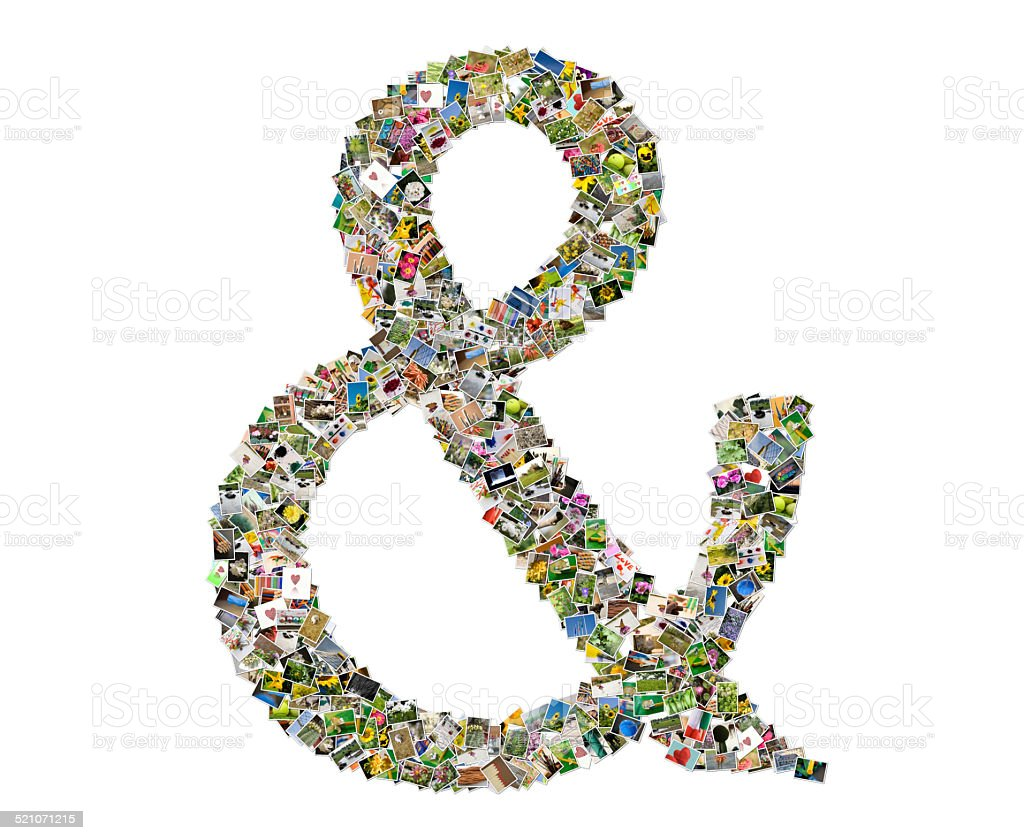 Letter Ampersand, photos collage stock photo