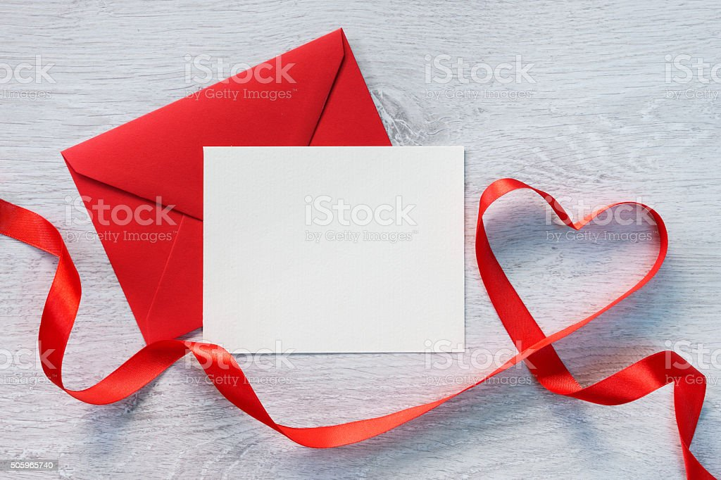 Letter and curved red ribbon stock photo