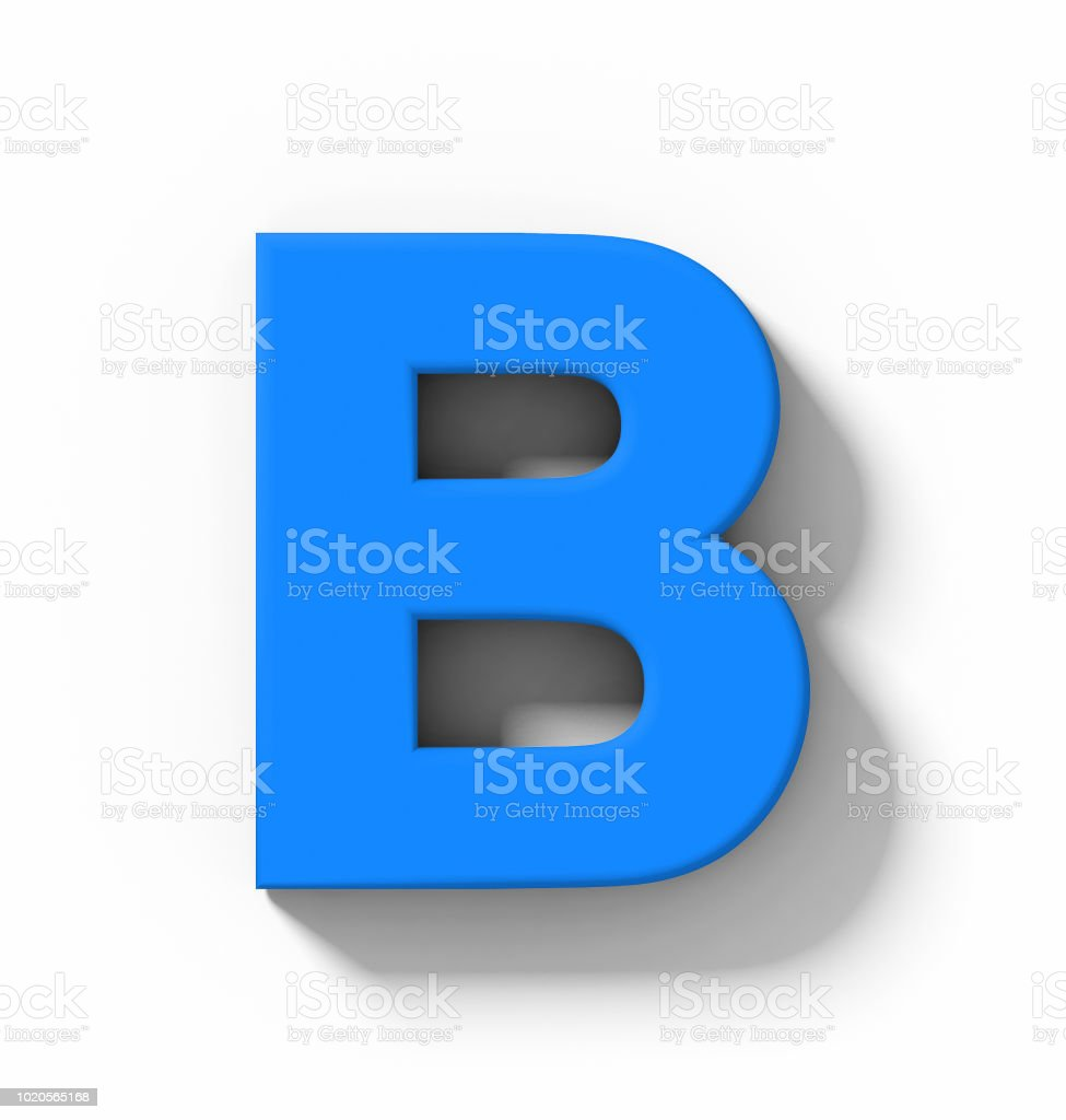 letter B 3D blue isolated on white with shadow - orthogonal projection - foto stock