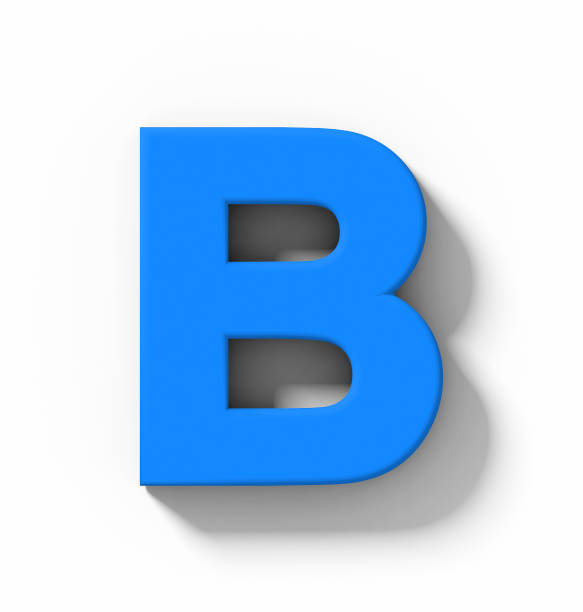 letter B 3D blue isolated on white with shadow - orthogonal projection stock photo