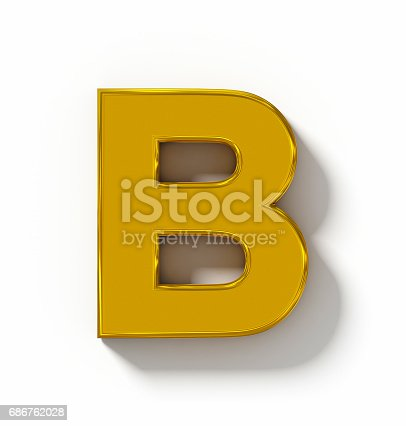 istock letter B 3D golden isolated on white with shadow - orthogonal projection 686762028