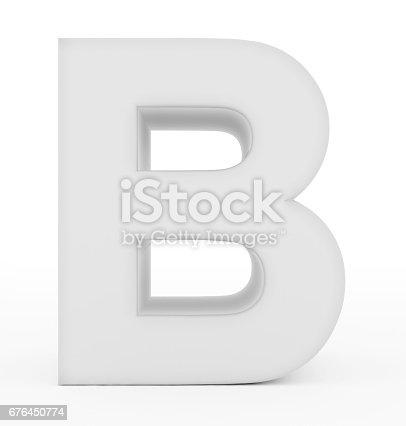 istock letter B 3d white isolated on white 676450774