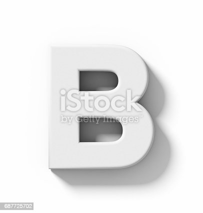 845304606 istock photo letter B 3D white isolated on white with shadow - orthogonal projection 687725702