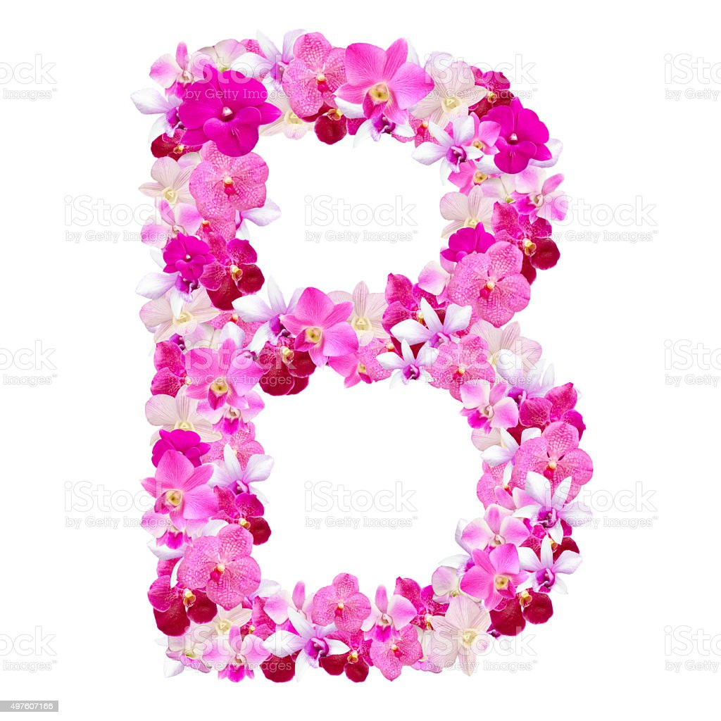 Letter B From Orchid Flowers Isolated On White Stock Photo