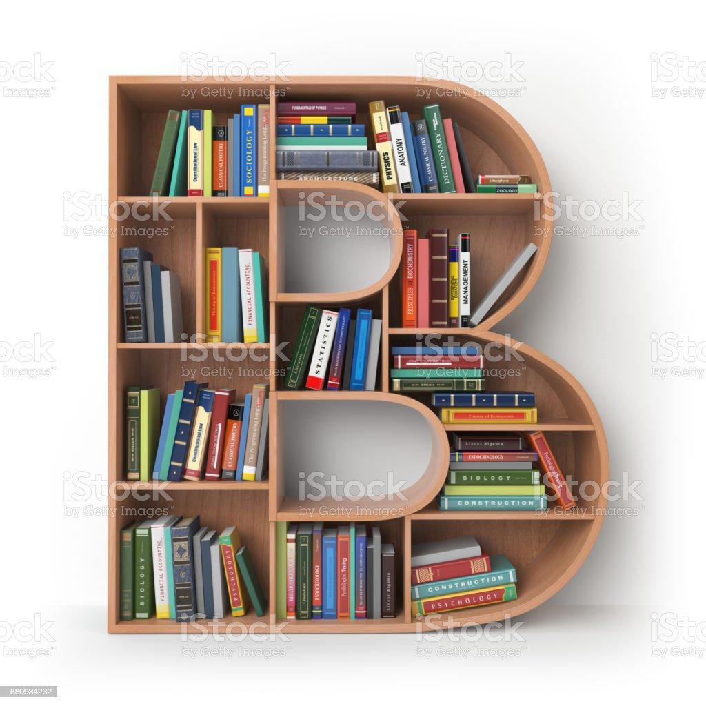 B harfi üzerinde beyaz izole kitaplar raflara şeklinde. stok fotoğrafı