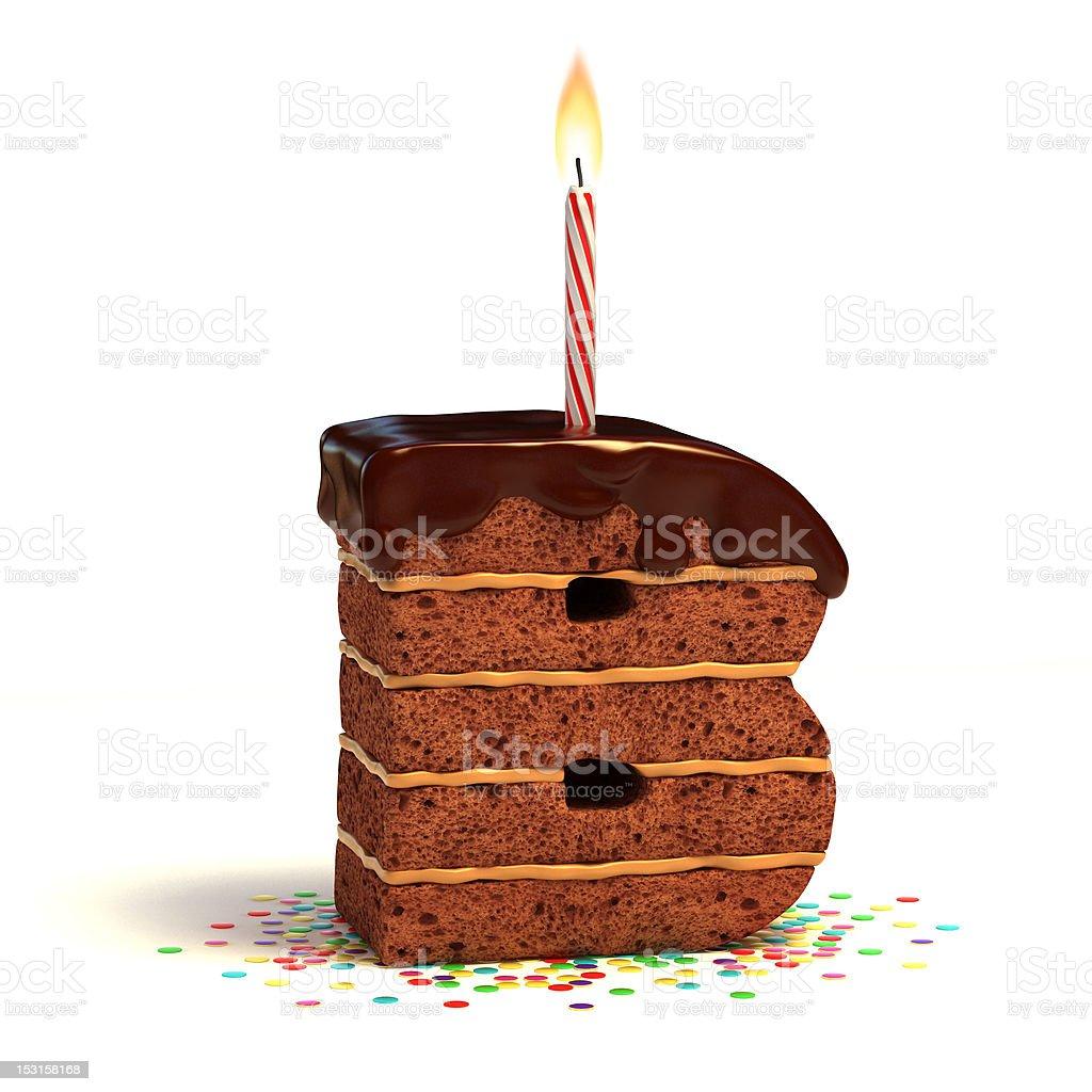 letter B shaped chocolate cake royalty-free stock photo