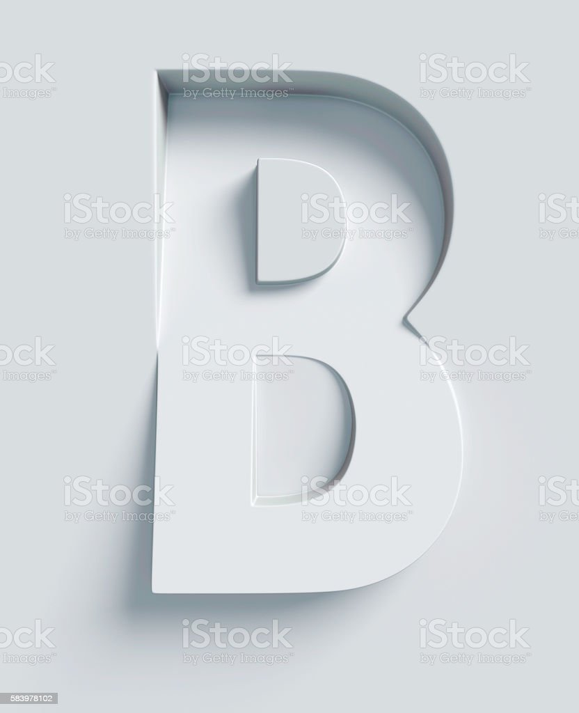 Letter B slanted 3d font engraved and extruded from surface stok fotoğrafı