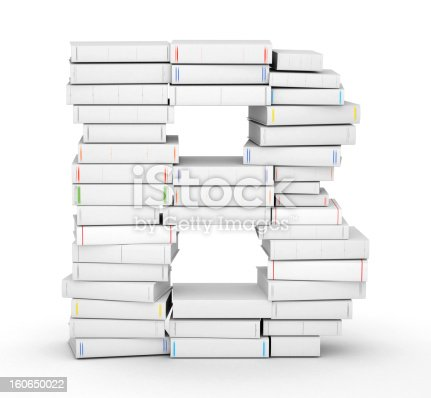 815359538 istock photo Letter B, stacked from blank books 160650022