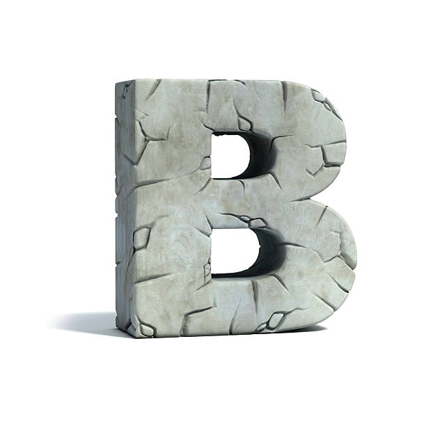 letter b stone 3d font - stone font stock photos and pictures