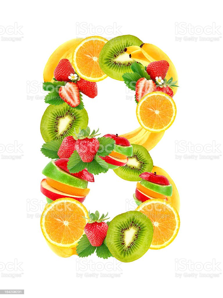 Letter B with fruit stock photo
