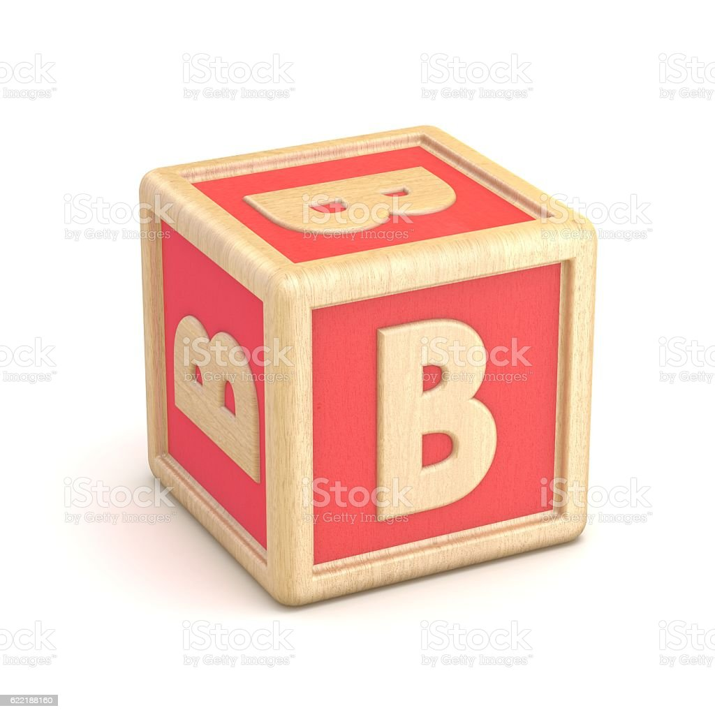 Letter B Wooden Alphabet Blocks Font Rotated D Stock Photo  More