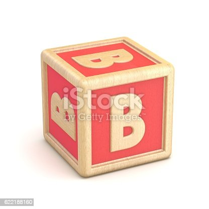 istock Letter B wooden alphabet blocks font rotated. 3D 622188160