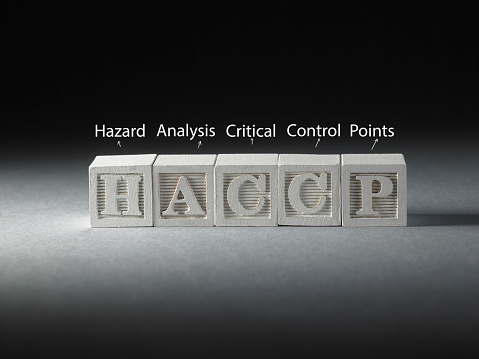 HACCP - words from wooden blocks with letters, Hazard Analysis and Critical Control Points, haccp concept, black background