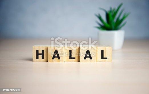 istock Letter block in word halal on wooden blocks 1204505885