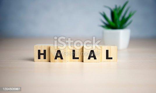 istock Letter block in word halal on wooden blocks 1204505961
