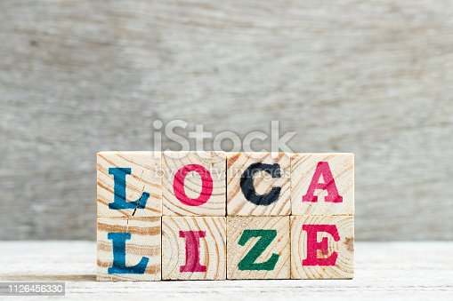 Letter block in word localize on wood background