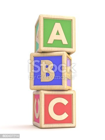 istock Letter blocks A, B and C vertical arranged. 3D 600407214