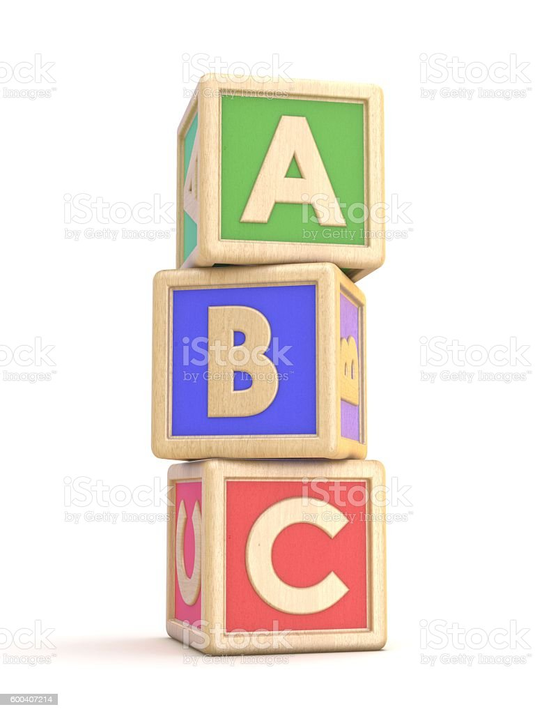 Letter blocks A, B and C vertical arranged. 3D stock photo