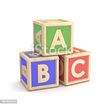 istock Letter blocks ABC. 3D 607502344