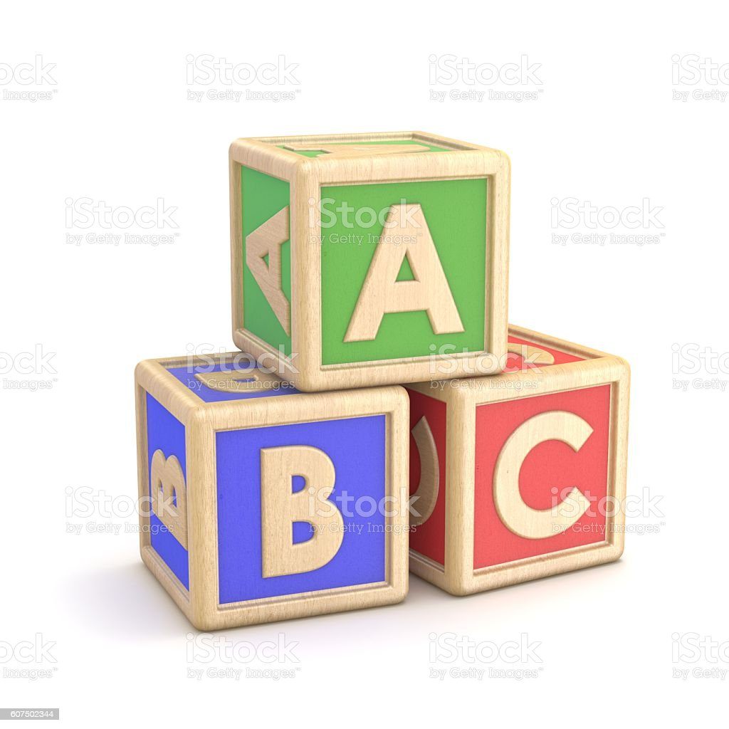 Letter blocks ABC. 3D stock photo
