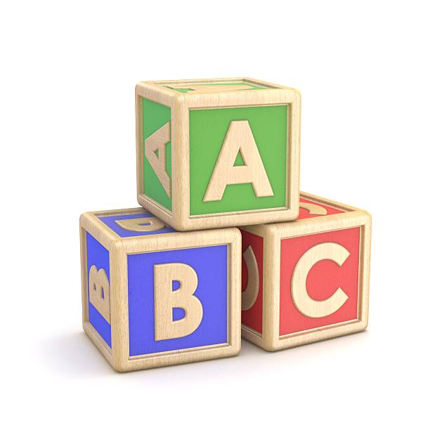 letter blocks abc. 3d - alphabetical order stock pictures, royalty-free photos & images