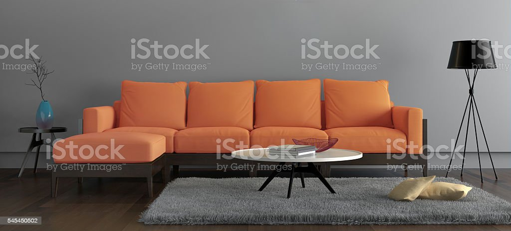 Letter box frame showing contemporary  living room with orange sofa – Foto