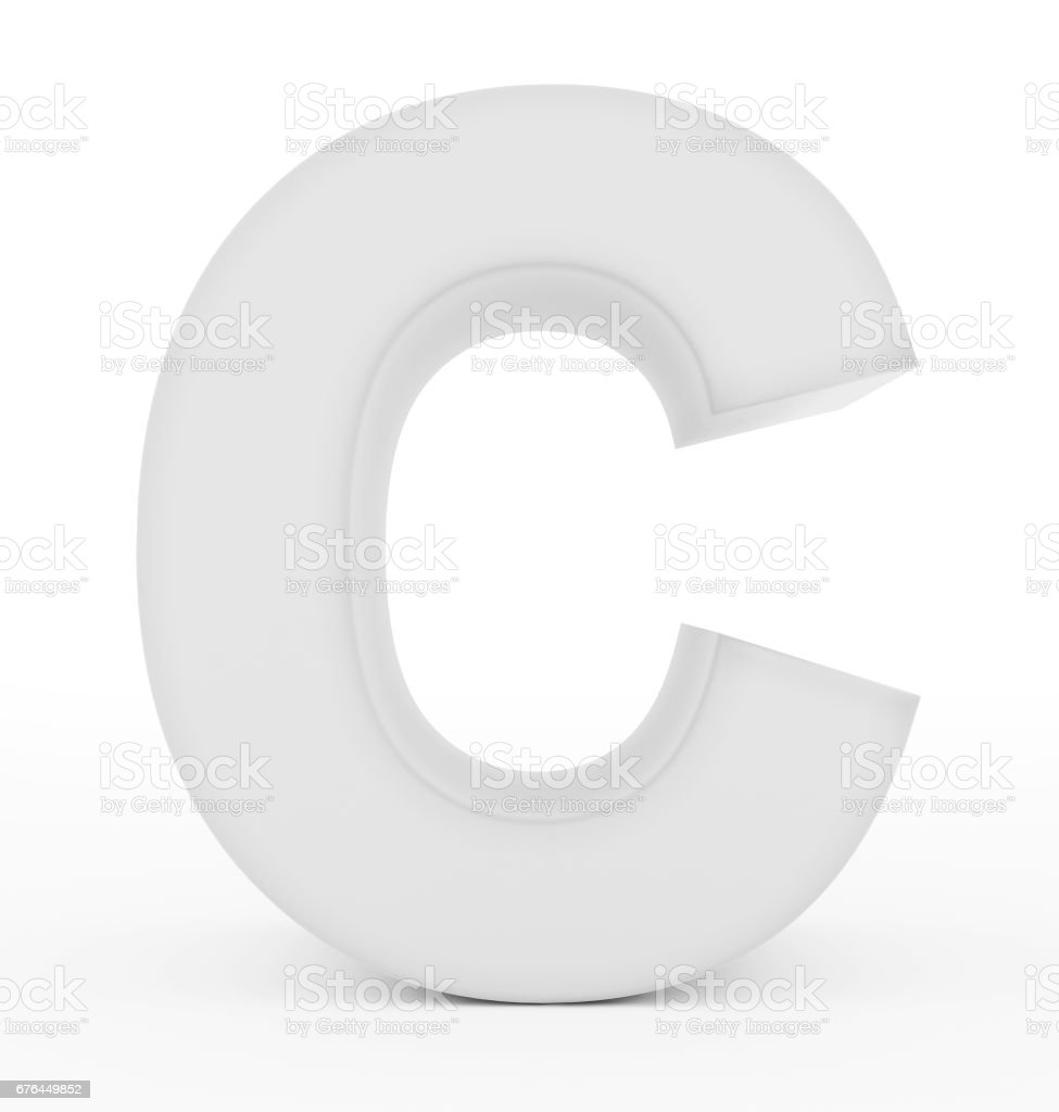 letter C 3d white isolated on white stock photo