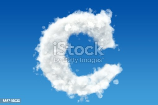 491530224istockphoto Letter C, alphabet from clouds in the sky. 3D rendering 866749030