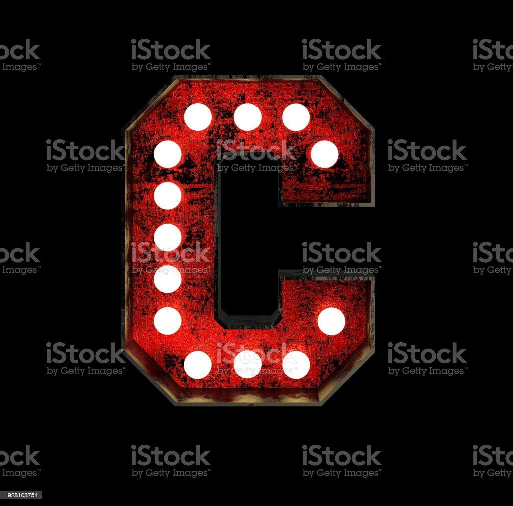 Letter C. Broadway Style Light Bulb Font stock photo