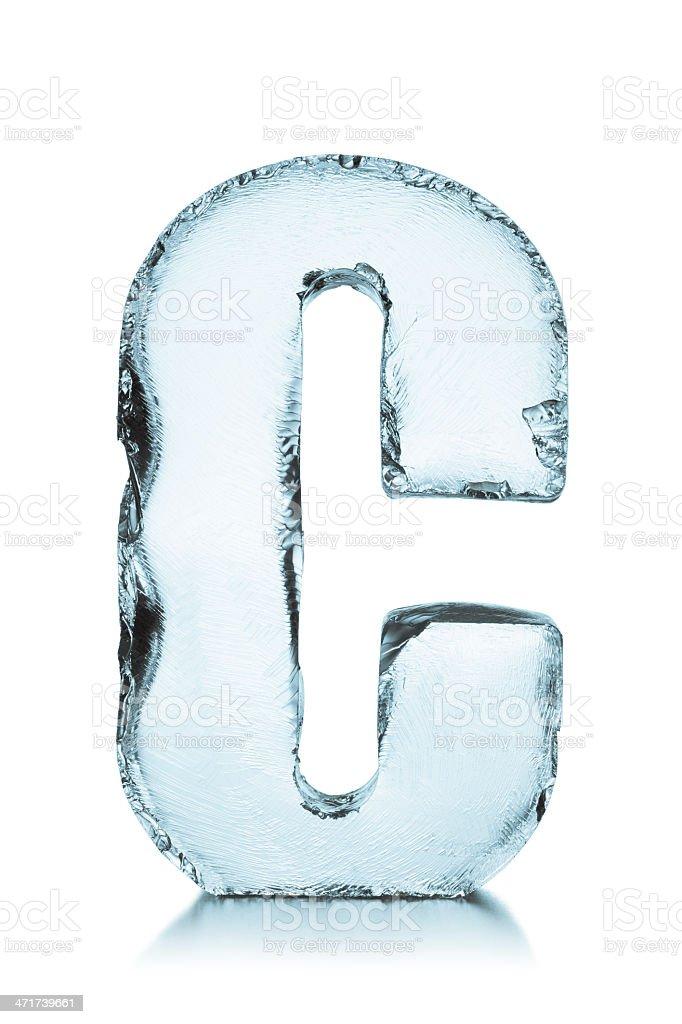 Hielo congelado alfabeto letras C - foto de stock