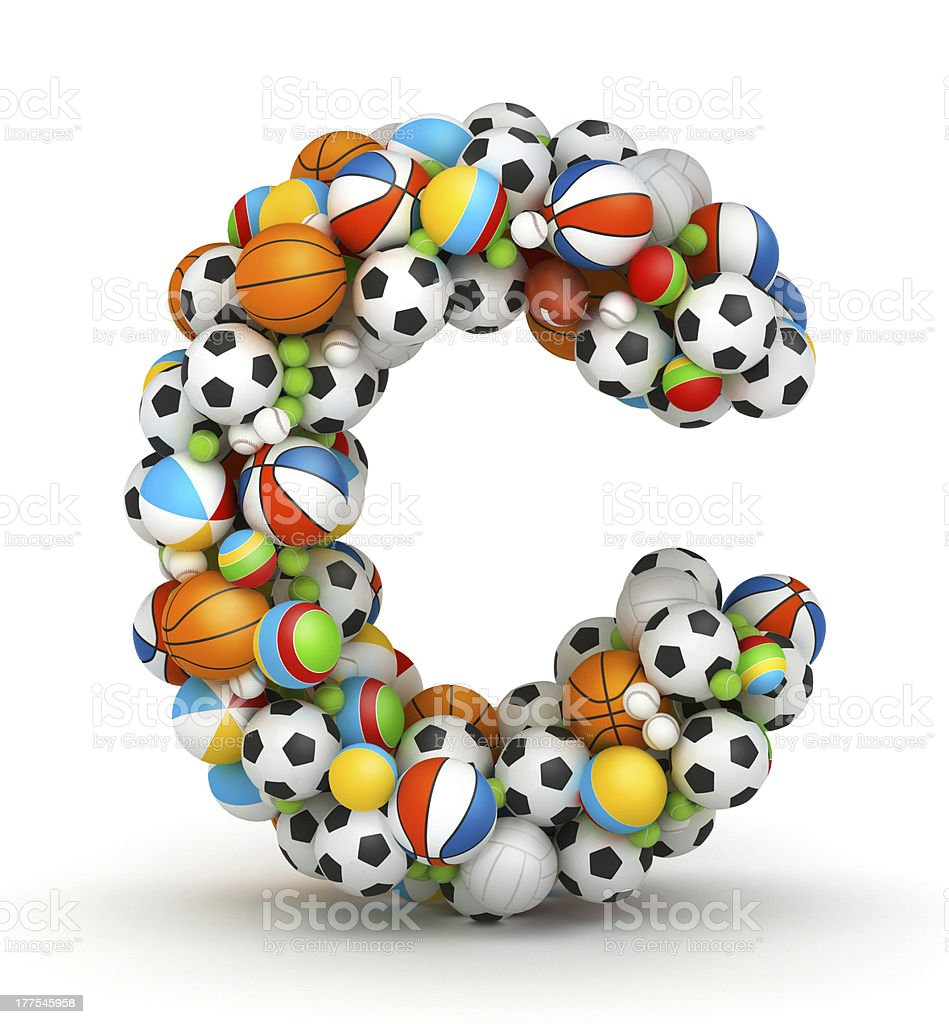 Letter C, gaming balls alphabet stock photo