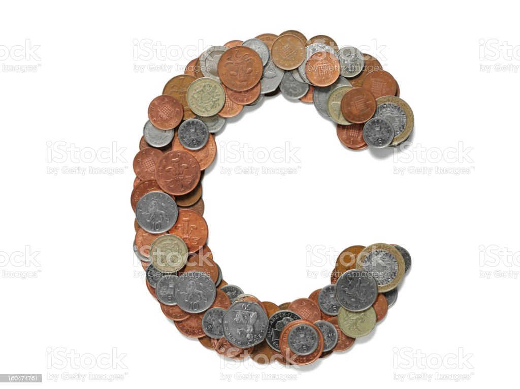 Letter C in British Currency royalty-free stock photo