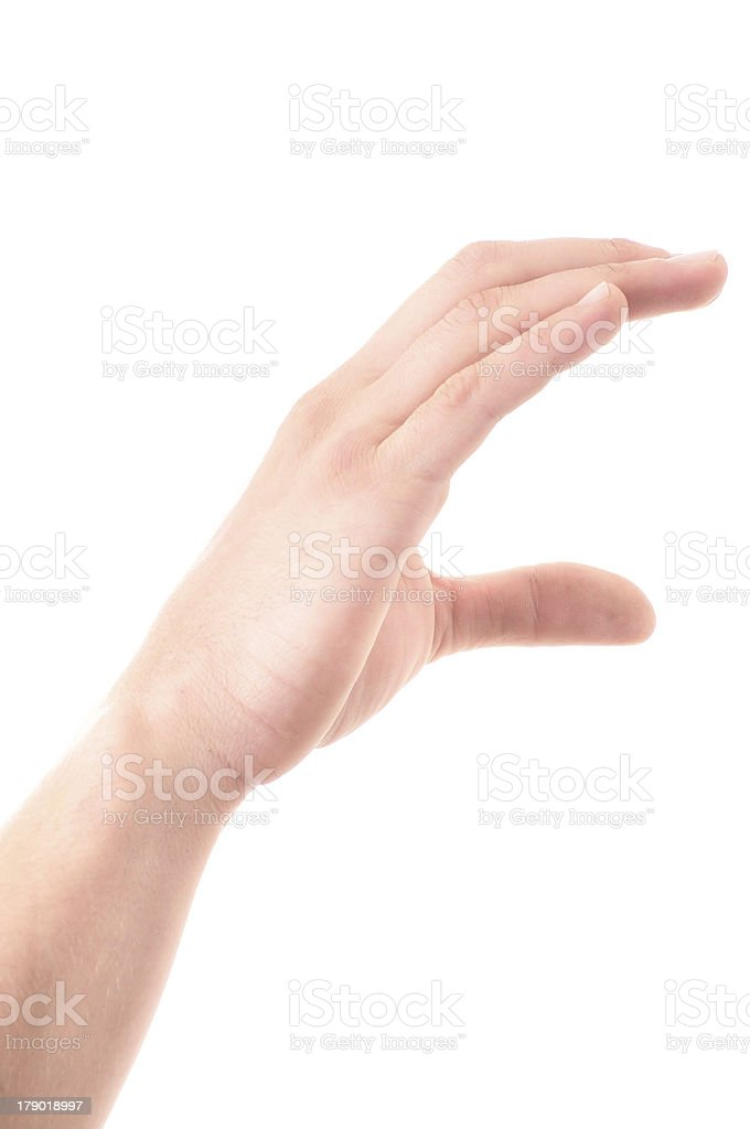 Letter 'C' in sign language, on a white background royalty-free stock photo