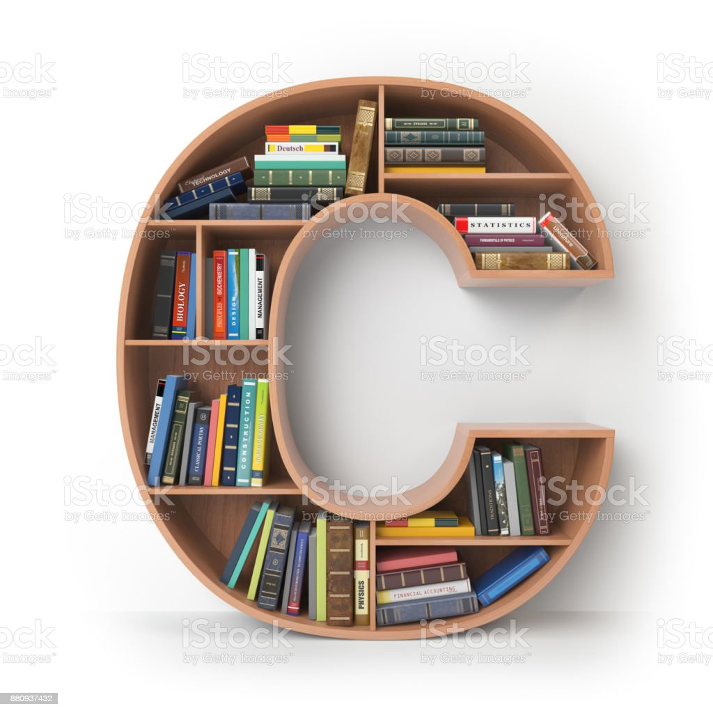 Letter C in the form of shelves with books isolated on white. stock photo