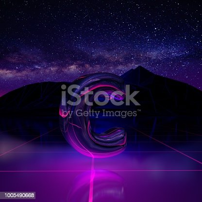 istock Letter C lowercase. 3D render font on retro background futuristic landscape 1980s style. 1005490668