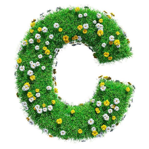 letter c of green grass and flowers - c - fotografias e filmes do acervo
