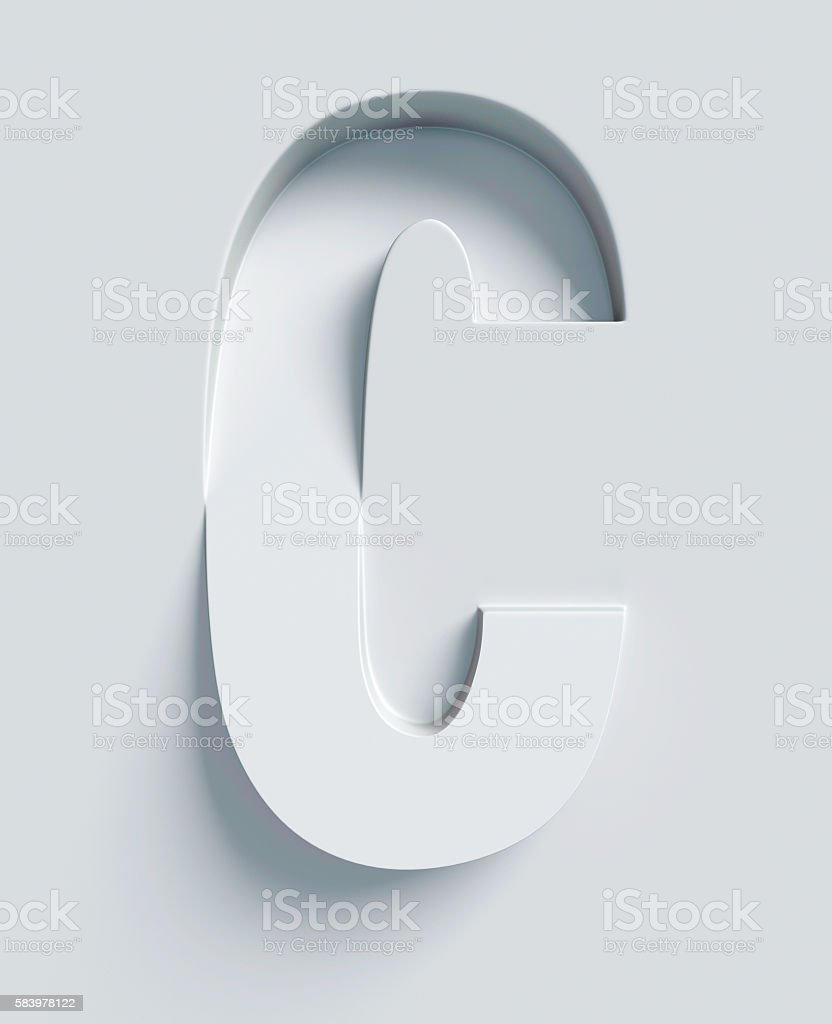 Letter C slanted 3d font engraved and extruded from surface stock photo