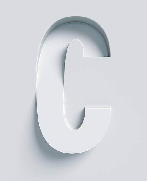 letter c slanted 3d font engraved and extruded from surface - c - fotografias e filmes do acervo