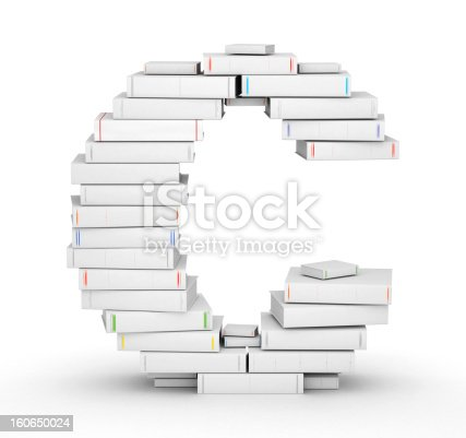 815359538 istock photo Letter C, stacked from blank books 160650024
