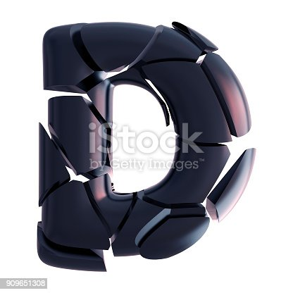 583978154 istock photo Letter D. Abstract Fractal Cracked Font 909651308