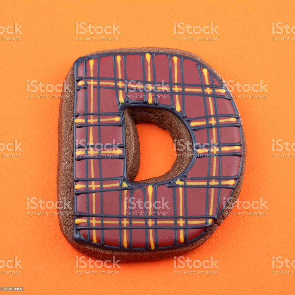 Letter D Cookie stock photo