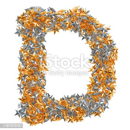 184385936 istock photo Letter D from gold and silver stars, 3D rendering isolated on white background 1197010131