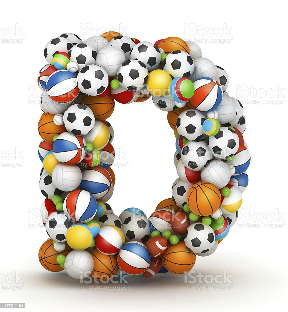 Letter D, gaming balls alphabet stock photo