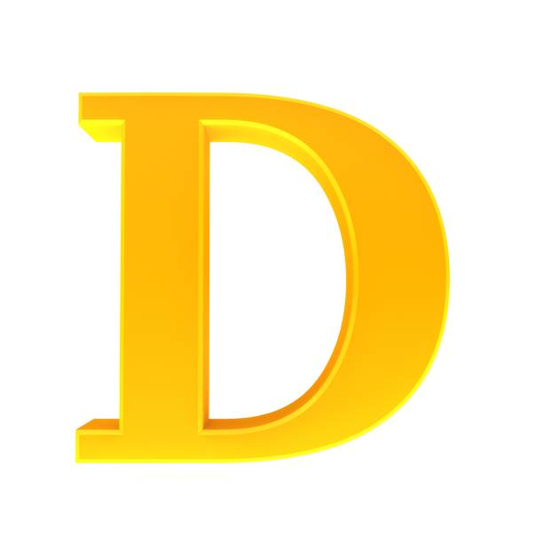 letter D gold yellow sign symbol 3d rendering stock photo