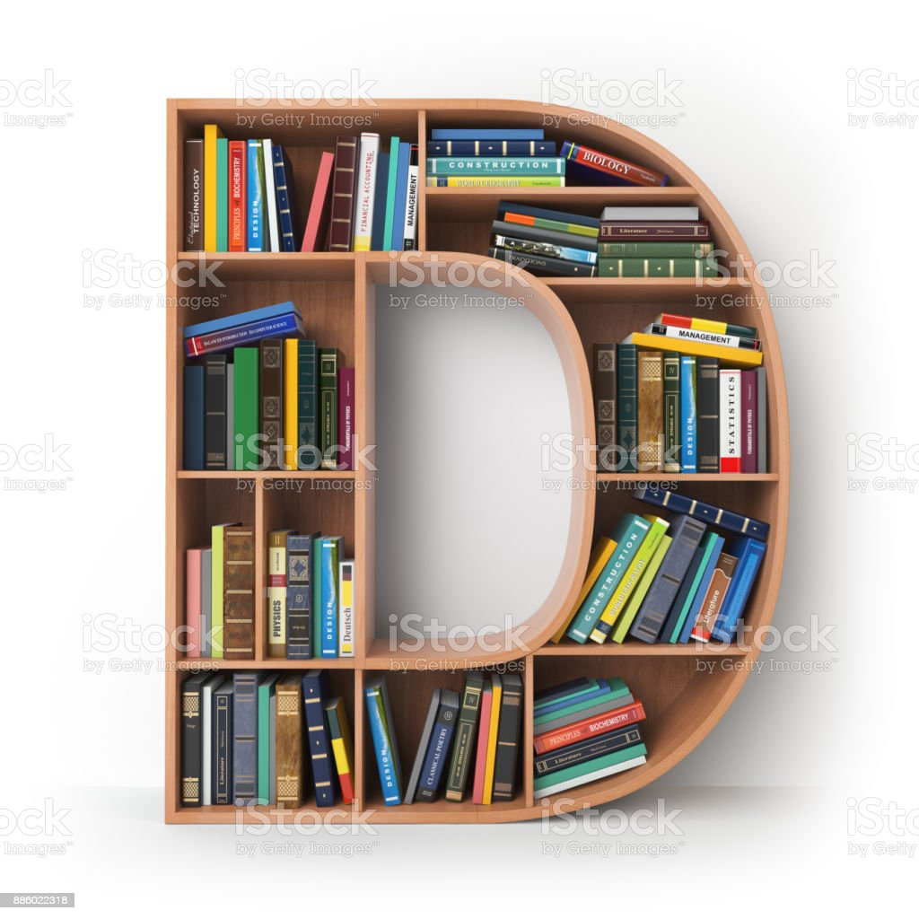 Letter D in the form of shelves with books isolated on white. stock photo