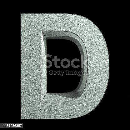 583978154 istock photo Letter D made of snow. Snow font. 3d rendering 1181286357