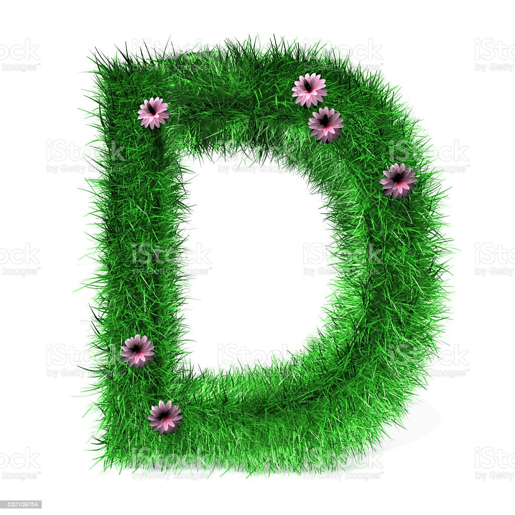 Letter D of Grass And Flowers stock photo