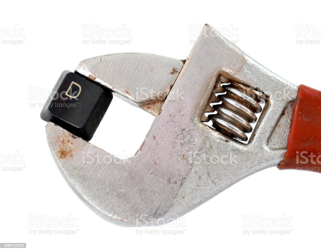 letter d on adjustable pliers pipe wrench stock photo